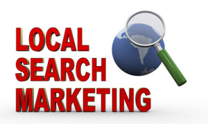 words local search marketing with magnifying glass over globe